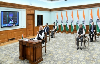 Hon'ble Prime Minister Shri Narendra Modi participates in the G-20 Virtual Summit hosted by Custodian of the Two Holy Mosques His Majesty King Salman bin Abdulaziz Al Saud on March  26, 2020