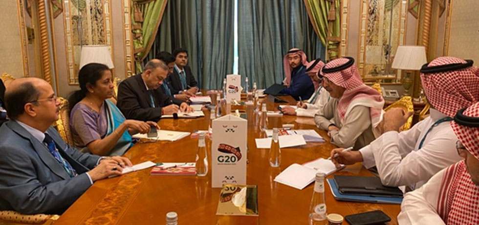 Hon'ble Finance Minister Smt. Nirmala Sitharaman met Saudi Finance Minister H.E Mr. Mohammed Al Jadaan during her visit on February 22-23, 2020