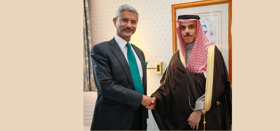 Hon'ble External Affairs Minister Dr. S Jaishankar met Saudi Foreign Minister His Highness Prince Faisal bin Farhan on the sidelines of the Munich Security Conference on February 15