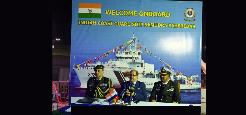 Ambassador addressed a press conference onboard the Indian Coast Guard Ship ICGS Samudra Pahredar on January 29