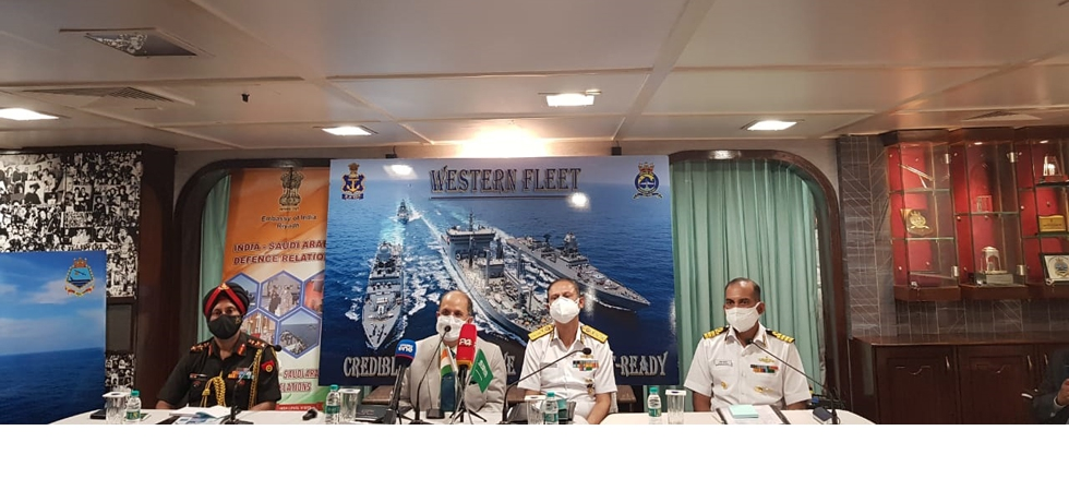 Ambassador addressed a press conference onboard INS Kochi during the first bilateral naval excercise between India and Saudi Arabia